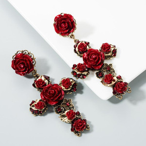 European and American fashion earrings female Barlow Crowe rose flower cross long retro earrings