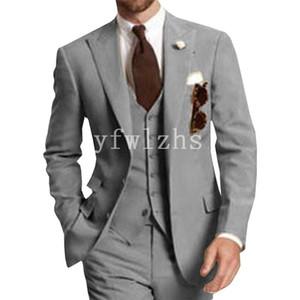 Handsome Two Buttons Groomsmen Peak Lapel Groom Tuxedos Mens Wedding Dress Man Jacket Blazer Prom Dinner suits (Jacket+Pants+Tie+Vest) W331