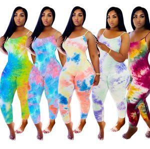 Diseñador mujeres del mono del teñido anudado de la honda del pijama de verano sin mangas Bodies playsuits mamelucos más el tamaño Pantalones Ropa 825