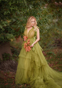 2021 Green Grass Materinity Robe Abiti da sera Split Tiered Puffy lunghi Fotografia della donna incinta Prom Dress Plus Size abito del partito