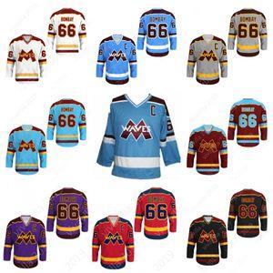 Cutom Gordon Bombay # 66 Wellen Mighty Ducks Movie Jersey Neue Stich genäht Jede Farbe Jede Größe College Hockey Trikots