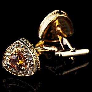 Rose Gold Kristal Zirkon Kol Düğmeleri İçin Erkekler Fransız Uniformal Düğün Astar Düğme Cufflink