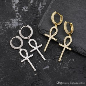 Iced Zircon Ankh Cross Earring Gold Silver Color Micro Paved Bling CZ Stone Earrings For Man Women Hip Hop Jewelry