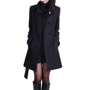 Las mujeres abrigo de lana casual Trench flojo caliente del invierno de manga larga capa con cinturón de abrigo de cachemira sólido # 20 del botón de la chaqueta