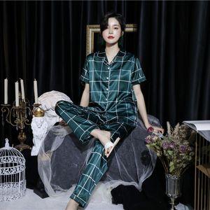 MsHdb DLxt9 Ice Silk Pyjamas Paar Artfrühling Hauptkleidung Größe Rock Rock und Sommer Fett Short Plaid Kurzarm Hose Positionierung