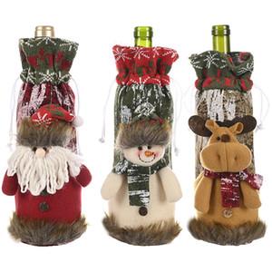Botella de vino de Navidad muñeco de nieve cubierta de Santa Claus Elk Stocking Vajilla para Navidad Año Nuevo Decoración DHE1247