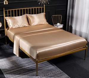 Бесплатная доставка высокого качества пододеяльник Шелковый Простыни четыре шт постельного белья 9 цветов в продажу Одеяло наборы