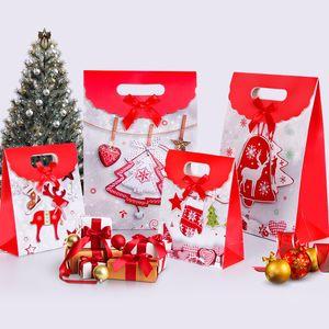 20pcs Cadeaux de Noël Boîtes cerf de Bell Arbre de Noël Motif emballage Bonbonnière Sacs papier d'emballage pliable Xmas Party Supplies événement