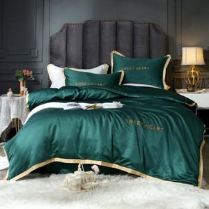 OLOEY reiner festen Federbetten Stickerei Bettwäsche Set Tröster Bett-Set Luxus Satin Seide Deckblatt Queen-Size-goldener Rand T200814