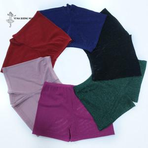 Women Safety Shorts Pants dance Underwear Short Pants Tight Leggings Silver mesh and milk silk fabric dancewear for lady