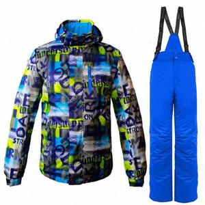 2018 invierno caliente al aire libre Ropa deportiva Pantalones térmicos manga completa La ropa de esquí y chaqueta de dos piezas de snowboard Establece 9ska #