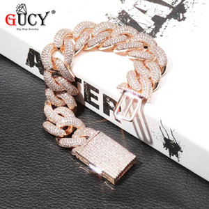 GUCY 14mm and 20MM Miami Lock Clasp Cuban Link Bracelet Iced Out Cubic Zircon Bling Hip hop for Men Jewelry Gift