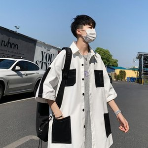 Verano flojos ocasionales adelgazan las camisas de gran tamaño blanca Harajuku estilo coreano Streetwear camisas Ropa De Hombre Ropa de DB60SH