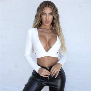Tees Sexy Deep V-Neck Hollow Out Tees Casual Natural Color Long Sleeve Tees Women Clothing Women Designer Short
