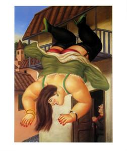 Fernando Botero Sanat Over The Balkon Ev Dekorasyonu Handpainted HD Yağı 7077 tarihinde Tuval Wall Art Canvas Resimler Boyama yazdır