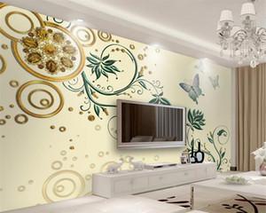 3d Flower Wallpaper 3d Modern Wallpaper Golden Jewelry Flower Butterfly TV Background Wall Romantic Flower Decorative 3d Mural Wallpaper
