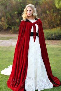Velvet Cloaks Christmas Hooded Cloak Bridal Cape Winter Floor Length Jacket Wedding Wraps Velvet Wedding Jackets 2020 New