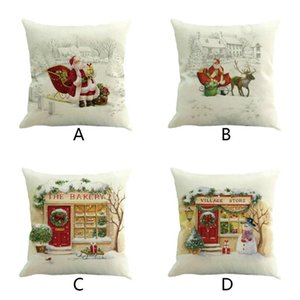 Christmas Cute Cartoon Printed Cotton Linen Throw Pillow Case Cushion Cover Home Sofa Decoration Home Decoration Comfortable