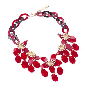 GuanLong Fashion Acrylic Flower Necklaces & Pendants Statement Jewelry For Women 2020 New Year Gifts Accessories