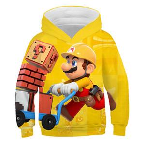 2019 Классическая игра мультфильм Super Mario Bros Одежда Детские Hoodie Детские Мальчики Hiphop Streetwear Симпатичные девушки куртки фуфайки пальто Y200831