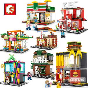SEMBO City Street View coffee Ice cream Burger Shop Mc Fast food Store House Model Building Block Educationanl Toy Birthday Gift