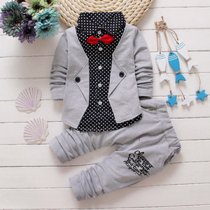 BibiCola Baby Boy Clothing Sets Children Bow Tie T-shirts +Pants Kids Cotton Cardigan Two Piece Suit