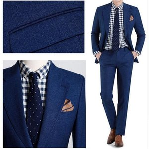 New 2 Pieces (Jacket + Pants ) For Groom Wedding Tuxedos Classic Costume Custom Made Bule Men Suits Groom Best Man Suits 433