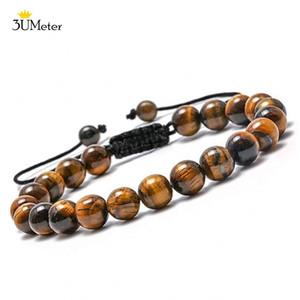 3UMeter 8mm Tiger Eye Stone Bracelets Adjustable Natural Stone Yoga Beads Bracelet Braided Rope Bangle for Male Jewelry Gifts