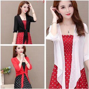 Summer Elegant Cape casual thin chiffon beach blouse women short sleeve blusas perspective white chemise tops W9