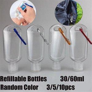 3 5 10 Pcs Refillable Bottle With Key Ring Travel Transparent Plastic Refillable Perfume Hand Sanitizer Bottle 30ml 60ml