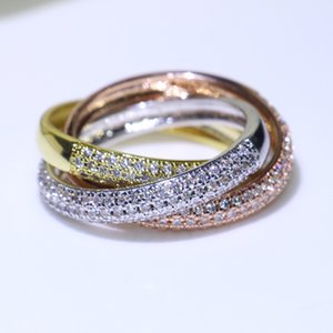 Triple Circles Gold Rose Gold Silver Ring Three Colors Luxury Jewelry 925 Silver Pave CZ Ring Women Wedding Finger Rings For Lovers Gift