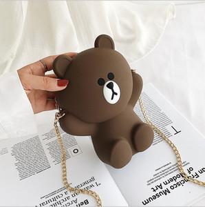 Karikatur-Bär-Silikagel-Schultertasche Reißverschluss Weicher Clutch-Geldbeutel und Handtaschen-Frauen-Beutel-Kette Umhängetasche