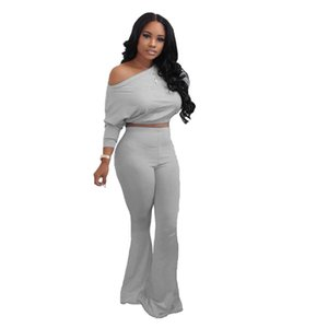 Bat luva mulheres designer Tracksuits Flares Casual Pants Two Piece Set Soild Cor Strapless Ladies Clothing