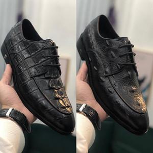 2020 мода платье туфли с Top Class тисненой Коровы кожа шнуровкой Украшение Формального Oxfords Мужского Свадебной движущей обувью