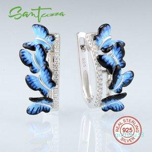 Hot Sale SANTUZZA Silver Earrings For Women 925 Sterling Silver Stud Butterfly Earrings Silver 925 Cubic Zirconia brincos Jewelry Enamel