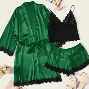 Las mujeres Albornoz pijamas de seda de raso mujeres del camisón de la ropa interior de la ropa interior de los trajes de noche atractiva szlafrok damski Lenceria Dropship