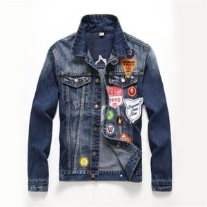 Erkek Tasarımcı Denim Rozet Ceket düğmeleri panelli Cepler Nakış Moda Kaykay Hip Hop Ceketler Gevşek Casual İlkbahar Sonbahar Coats