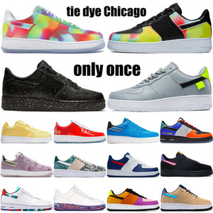Fashion Low casual shoes 1 07 what the NYC tie dye Chicago raygun butterfly print pop the street mens sneakers women trainers