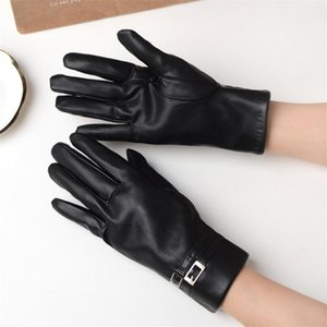 Lady's Outdoor Sheepskin Mittens Female Plus Cashmere Autumn Winter Gloves Cool Riding Full Finger Open-palm Gloves