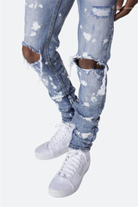 Clothing Holes Oil Paint Zipper Pencil Pants Designer Skinny Washed Jeans European And American Styles Mens