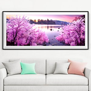 GLymg 5D Diy Diamond Painting Pink Lake Snow Diamond Embroidery Cross Stitch Full Square Home Mosaic Decoration Wall Sticker C0926