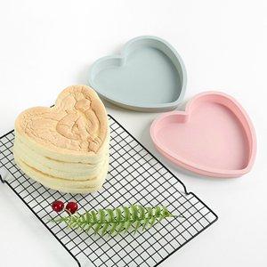 Torta de molde de silicona moldes de silicona en forma de corazón 8 pulgadas no pegajoso fácil de desmoldear hornear herramienta hornear el plato