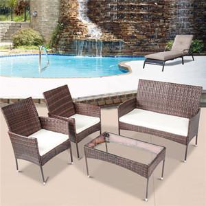 Muebles de patio de ratán seccional de 4 piezas Muebles de mimbre Conversación Jardín Sofá al aire libre Conjunto de asiento amortiguado Tabla de vidrio templado W36812141