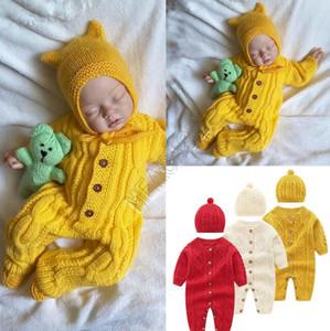 Детская одежда Детские Romper Цельный с длинным рукавом свитера Hat Кнопка свитер Две пьесы Set Осень Зима Новый Детская одежда D82407