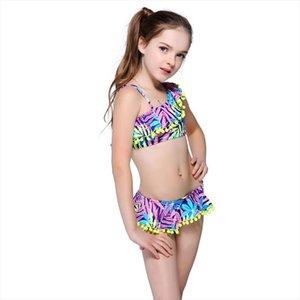 Bikini Childrens Swimwear Bola bonito Lotus Vestido banho de duas peças Kid um ombro Swimsuit meninas terno de banho