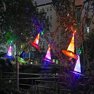 LED Light Up Witch Hat Halloween Quintal Hanging Tree Luminous Witch Hat Halloween Glowing Witch Hat Decor