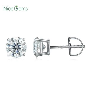 Genuine14K 585 White Gold 2.0CTW D Color Round Moissanite Diamond Stud Earring Screw Back Basket Set Classic Ladies Earrings
