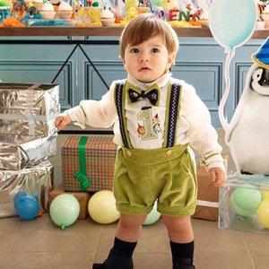 Shirt England Style neonati rifornisce bambino di lettera di bambini ricamato manica lunga + bretella Corduroy Shorts bambini 1st Birthday Outfits A4432