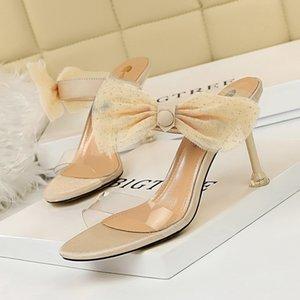 Sexy Spitzebowknot-Frauen-Sandelholz-Absatz-Schuhe transparenten PVC-Peep Toe Damen Pumps Sandalen Sommer Hausschuhe Größe 34-40 G0001