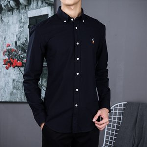 Erkekler Oxford Pamuk polo gömlek üst tasarımcı ve dinlenme İş gömlek uzun Yepyeni Erkek Elbise Gömlek Plus Size sleeve